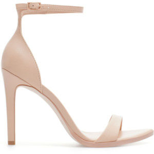 Zara Nude Beige Leather Ankle Strap Heels Sandals